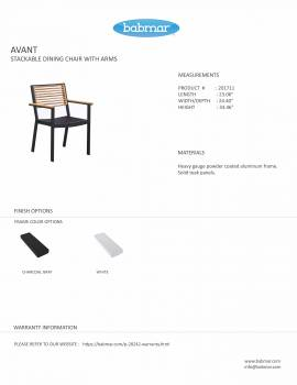 Babmar - Avant Dining Set For 4 (Stackable Chairs/Table With Teak Top/ Umbrella Hole) - Image 6