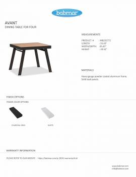 Babmar - Avant Dining Set For 4 (Stackable Chairs/Table With Teak Top/ Umbrella Hole) - Image 7