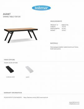 Babmar - Avant Dining Set For 6 with Aluminum Table - Image 3
