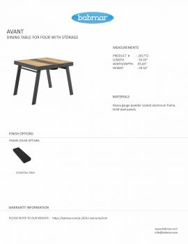 Babmar - Avant Dining Table For 4 With Storage (Straight Legs) - Image 2