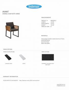 Babmar - AVANT DINING CHAIR WITH ARMS AND TEAK SIDE PANELS - Image 3