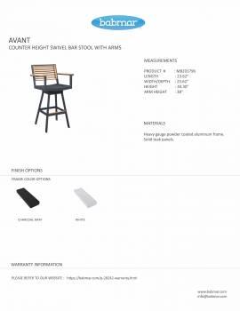 Babmar - Avant Swivel Bar Stool With Arms - Image 2
