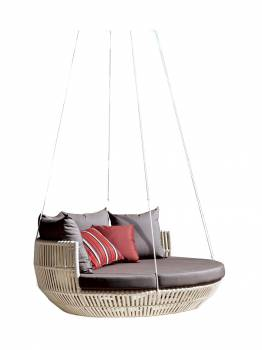 Apricot Hanging Daybed -White Wicker - Quick Ship - Image 2