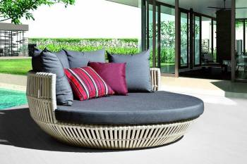 Apricot Low Back Daybed - Brown Wicker - QUICK SHIP