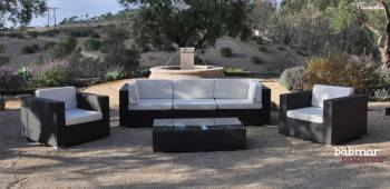 Outdoor Furniture Sets And Quick Ship Items - Outdoor Sofa & Seating Sets - Babmar - Swing 46 Modular Sectional Sofa Set for 5 with 2 club chairs