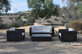 Outdoor Furniture Sets And Quick Ship Items - Outdoor Sofa & Seating Sets - Babmar - Swing 46 Modular Loveseat Set with 2 club chairs