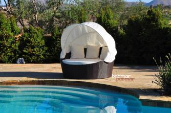 Outdoor Furniture Sets - Babmar - Iridium Modern Round Daybed With Canopy