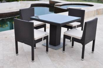 Vita Armless Dining Set For Four with Bistro Table