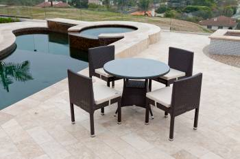 Outdoor Furniture Sets - Babmar - Rodondo Dining Set for Four With Vita Armless Chairs
