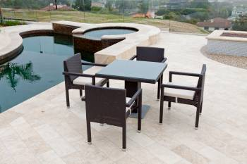 Outdoor Furniture Sets - Outdoor  Dining Sets - Vita Arm Chair Dining Set For Four with Bistro Table