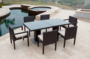 Package Deals - Outdoor  Dining Sets - Vita Dining Set For Six with Two Bistro Tables