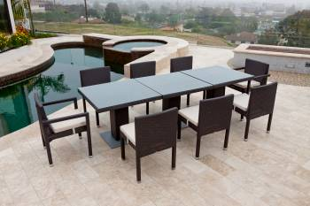 Outdoor Furniture Sets - Outdoor  Dining Sets - Vita Dining Set For Eight with Three Bistro Tables
