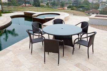 Outdoor  Dining Sets - Outdoor Dining Sets For 6 - Luna Dining Set For Six With Round Table