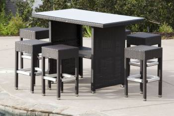 Outdoor Furniture Sets - Outdoor Bar Sets - Vertigo Bar Set With Pandora Stools