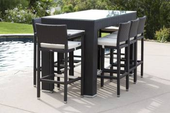 Outdoor Bar Sets - Outdoor Bar Sets For 8 - Pandora Bar Set For 8 With Vertigo Bar Stools