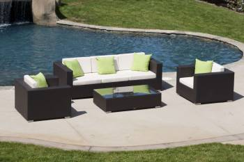 Outdoor Furniture Sets And Quick Ship Items - Outdoor Sofa & Seating Sets - Babmar - Swing 46 Sofa Set One piece 3 seater and 2 club chairs