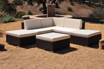 "Outdoor Furniture Sets And Quick Ship Items - Outdoor Sofa & Seating Sets - Babmar - Swing 46 ""V"" Shaped Sofa Set"