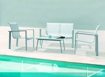 Outdoor Furniture Sets - Outdoor Mesh Collection - Bianco Love Seat Set With Cushions