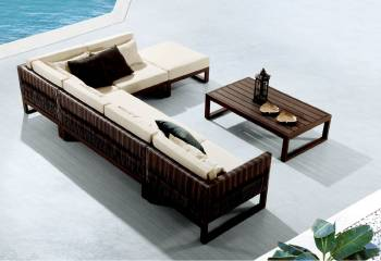 Wisteria Lounge SetWisteria Sectional Modular Lounge Sofa Set for 5 with coffee table and ottoman