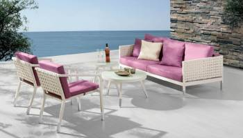 Outdoor Sofa & Seating Sets - Outdoor Seating Sets For 5 - Taco Sofa Set With 2 Chairs