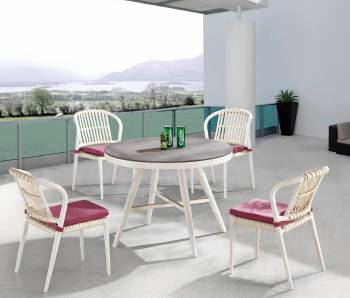 Kitaibela Armless Dining Set for Four with Round Table - Image 2